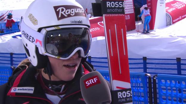 Video «Ski alpin: WM 2015 in Vail/Beaver Creek, Riesenslalom Frauen 1. Lauf, Interview mit Lara Gut» abspielen