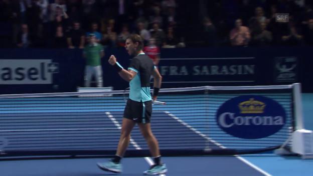 Video «Tennis: Swiss Indoors, Nadal - Rosol, ZSF» abspielen