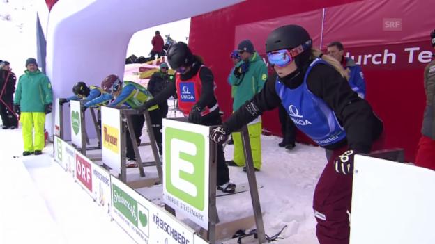 Video «Snowboard: WM in Kreisschberg, Boardercross, Viertelfinal-Lauf mit Sandra Gerber» abspielen