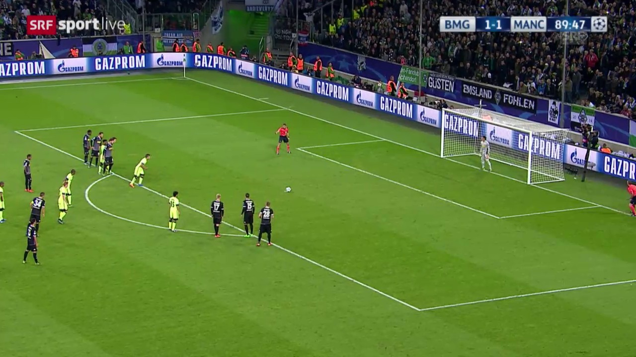 Fussball: Champions League, Gladbach – Manchester City, 1:2 durch Aguero