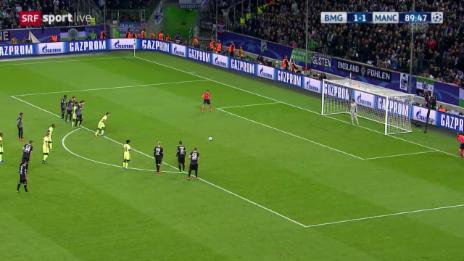 Video «Fussball: Champions League, Gladbach – Manchester City, 1:2 durch Aguero» abspielen