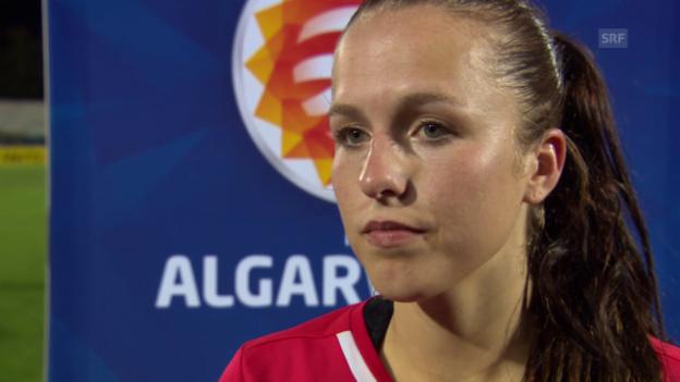 Video «Fussball: Algarve-Cup, Schweiz-USA, Interview mit Lia Wälti» abspielen