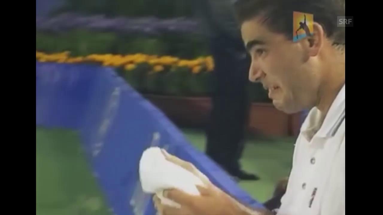 Sampras bricht während Spiel in Tränen aus (Quelle: Youtube)