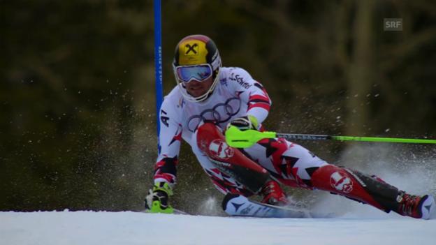 Video «Ski alpin: WM 2015 Vail/Beaver Creek, Slalom der Männer, der 1. Lauf von Hirscher» abspielen