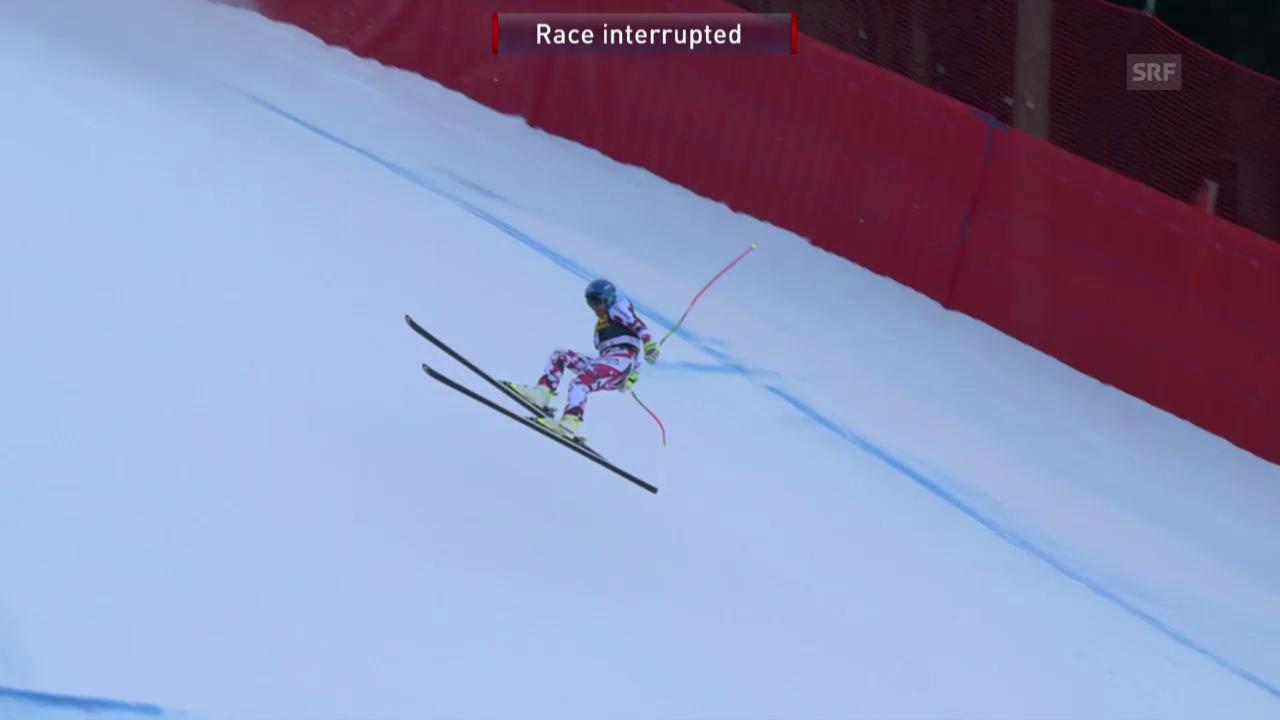 Ski: Abfahrt Männer in Gröden, Sturz von Matthias Mayer