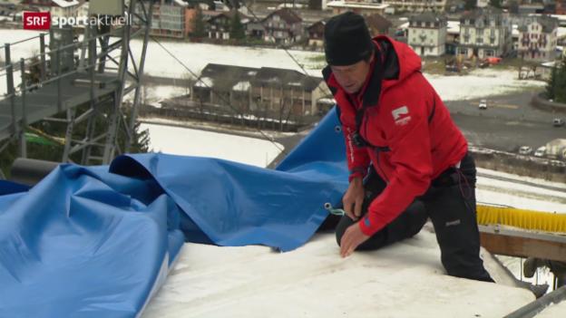 Video «Skispringen: Engelberg kämpft mit Schneemangel» abspielen