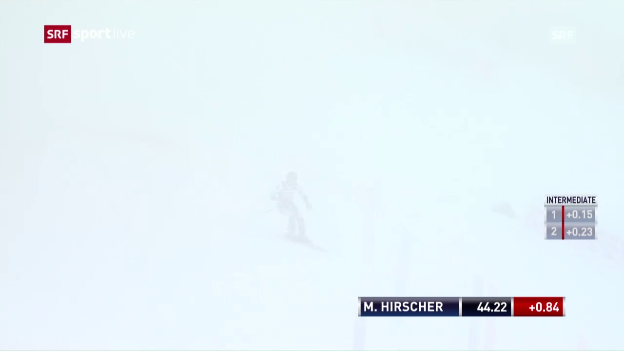 Hirschers 1. Lauf im Nebel