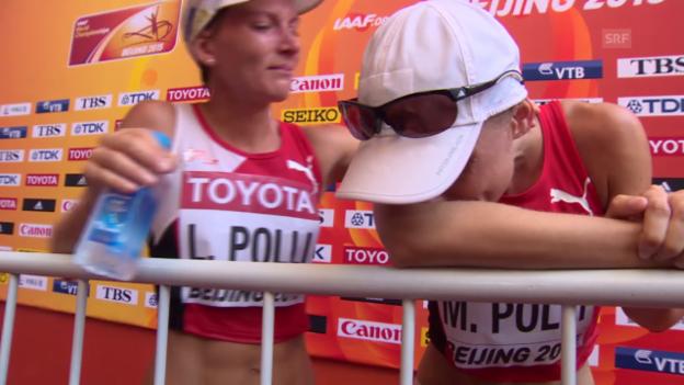 Video «Leichtathletik: WM Peking 2015, 20 km Gehen, Interview mit Marie Polli» abspielen