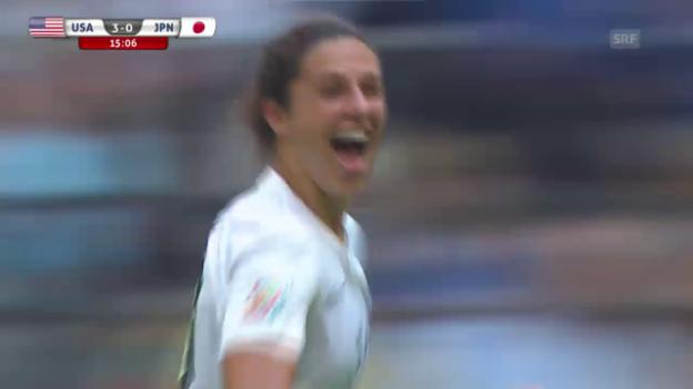 Video «Fussball: Frauen-WM, Final, USA - Japan, Lloyds Weitschuss zum 4:0» abspielen