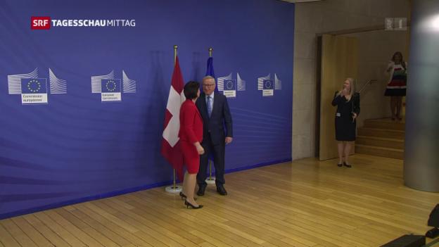 Video «Bundespräsidentin Leuthard auf schwieriger Mission in Brüssel» abspielen