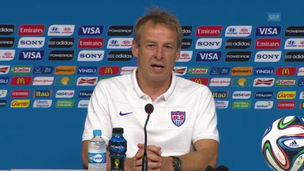 Video «Fussball: WM in Brasilien, Jürgen Klinsmann vor dem Spiel Deutschland - USA» abspielen