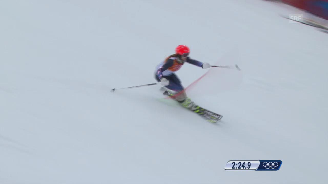 Ski: Kombi-Slalom Frauen, Fahrt Julia Mancuso (sotschi direkt, 10.2.2014)