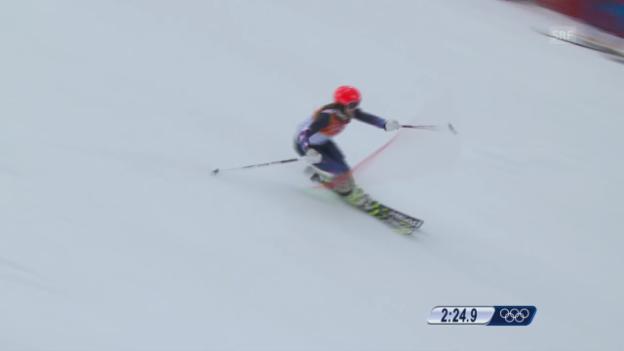 Video «Ski: Kombi-Slalom Frauen, Fahrt Julia Mancuso (sotschi direkt, 10.2.2014)» abspielen