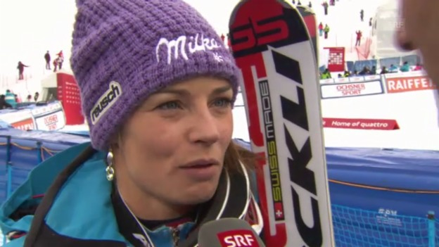 Video «Ski: Riesenslalom Lenzerheide, Interview mit Tina Maze» abspielen