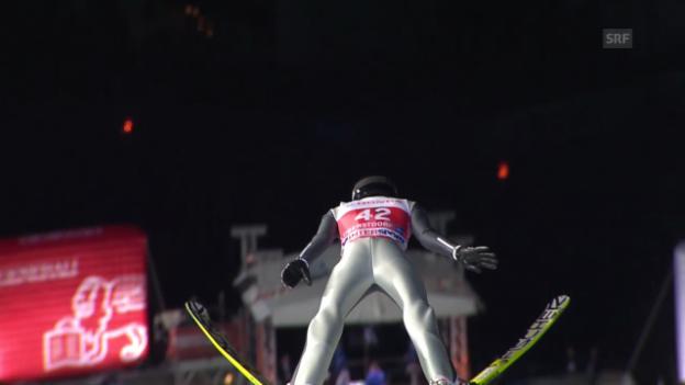 Video «Skispringen: Vierschanzentournee, Quali-Sprung von Deschwanden in Oberstdorf» abspielen