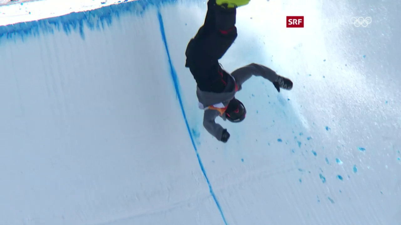Joel Gisler stürzt in der Halfpipe