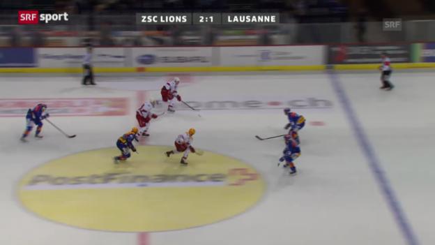 Video «Eishockey: ZSC Lions gewinnen Verfolgerduell gegen Lausanne» abspielen