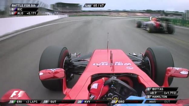 Video «Formel 1: GP Deutschland, Zweikampf Alonso - Ricciardo» abspielen