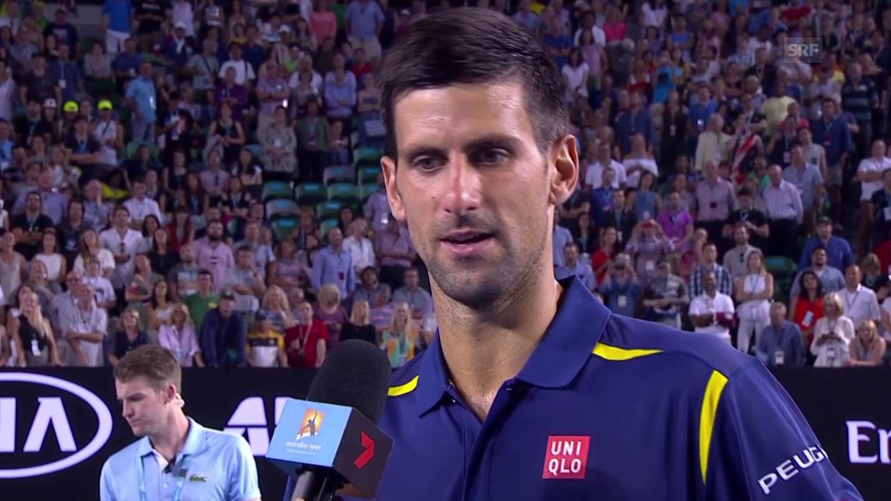 Novak Djokovic im Platzinterview nach seinem Sieg gegen Nishikori