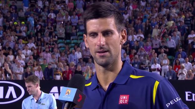 Video «Novak Djokovic im Platzinterview nach seinem Sieg gegen Nishikori» abspielen