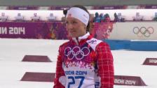 Video «Biathlon: 15 km Frauen, Flower-Ceremony (sotschi direkt, 14.2.2014)» abspielen