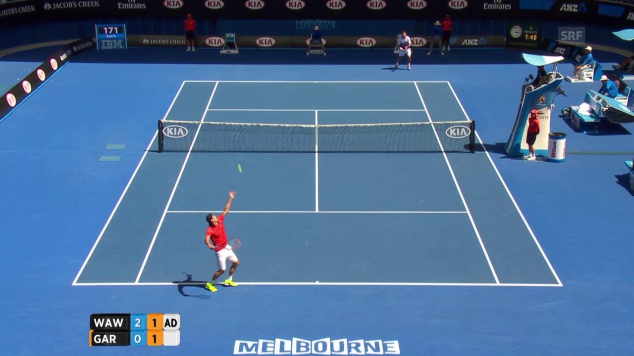 Tennis: Australian Open, Wawrinka-Garcia-Lopez, Satz 3