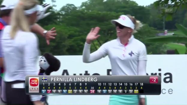 Video «Das Hole-in-One von Golferin Lindberg» abspielen