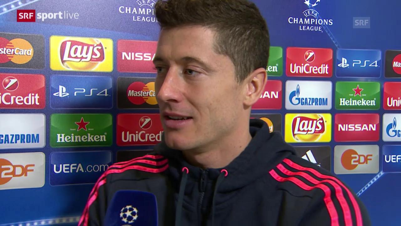 Fussball: Champions League, Bayern-Arsenal, Interview Lewandowski