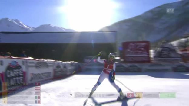 Video «Ski: Abfahrt Frauen in Val d'Isère, Fahrt von Corinne Suter» abspielen