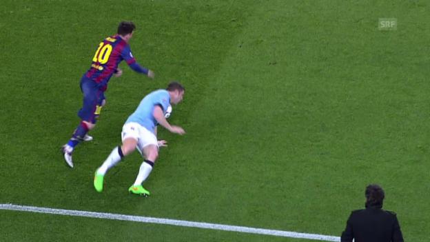 Video «Fussball: Champions League, Messi «tunnelt» Milner» abspielen