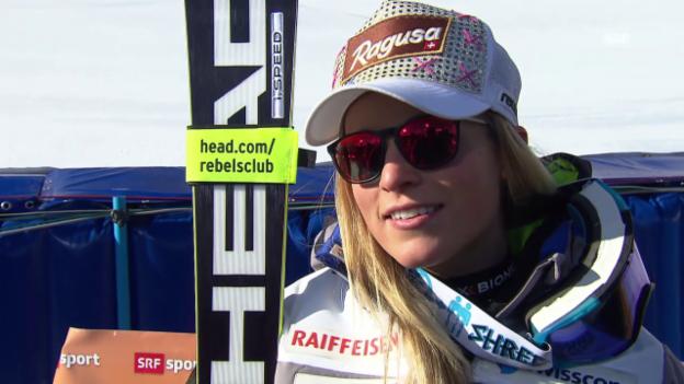 Video «Lara Gut ordnet ihren Podestplatz in Cortina ein» abspielen