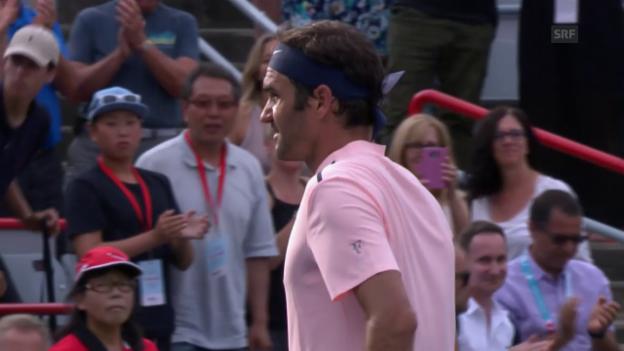 Video «Federer tut sich gegen Ferrer schwer» abspielen