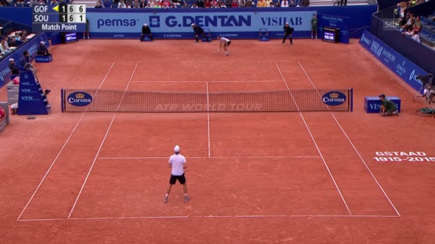 Video «Tennis: Gstaad Viertelfinal, Matchball Goffin» abspielen