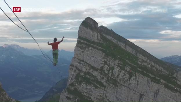 Video «Samuel Volery ist professionell auf der Slackline unterwegs» abspielen