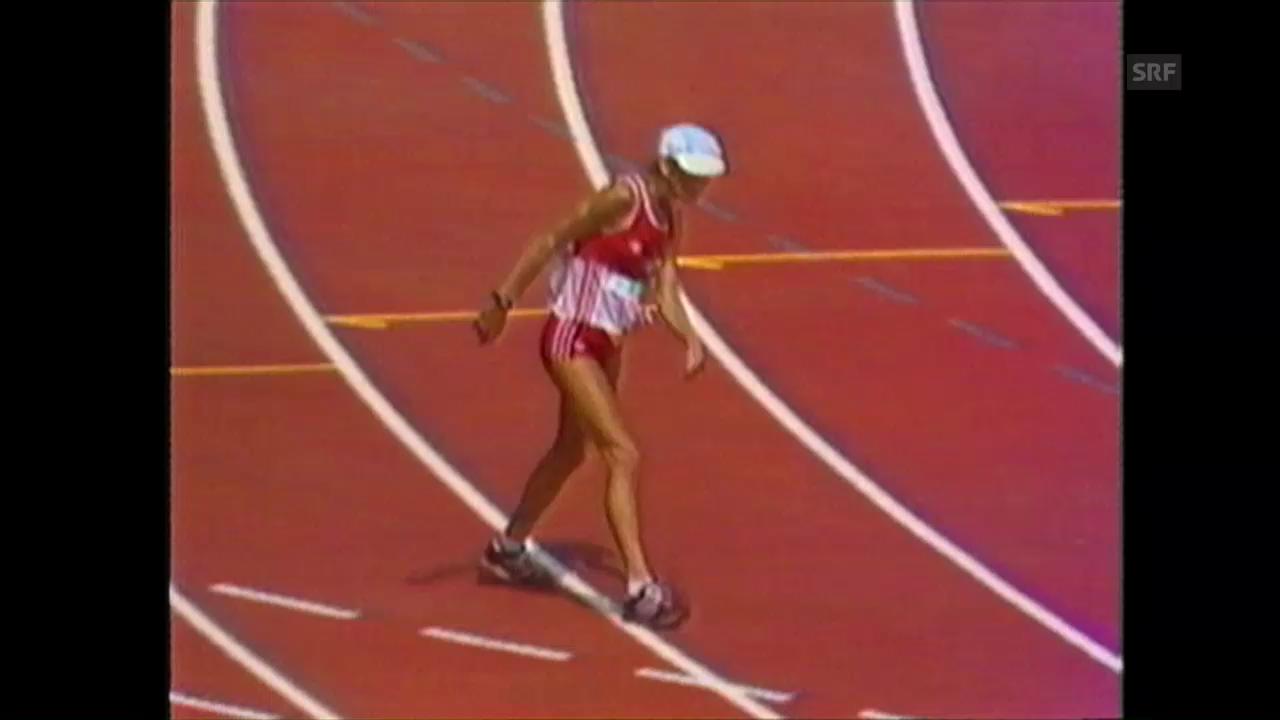 Zusammenschnitt: Gaby Andersen-Schiess kommt ins Ziel (5.8.1984)