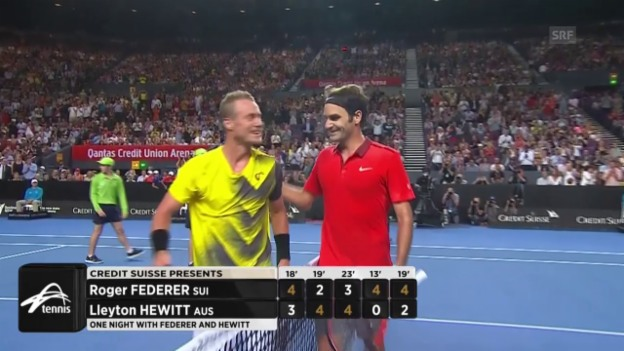 Video «Tennis: Highlights der Exhibition Federer - Hewitt» abspielen