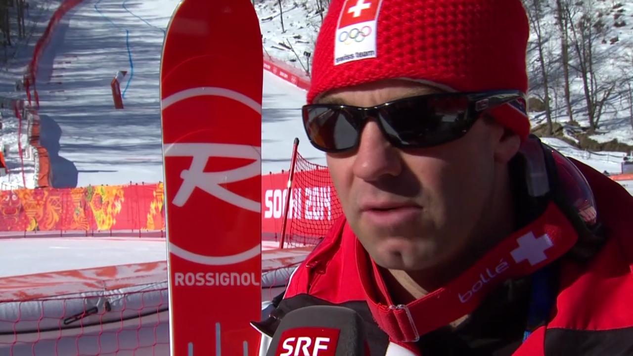Ski, Männer-Abfahrt, Training, Interview Défago