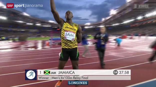 Video «Leichtathletik: Bolt führt Jamaika zum Staffel-Sieg» abspielen