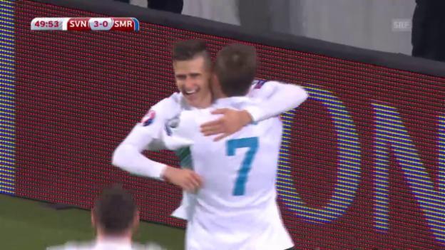 Video «Fussball: EURO 2016, Qualifikation, Slowenien – San Marino» abspielen