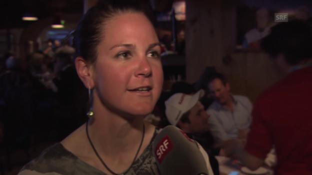 Video «Ski alpin: WM 2015 in Vail/Beaver Creek, Feuz'Freundin Katrin Triendl» abspielen