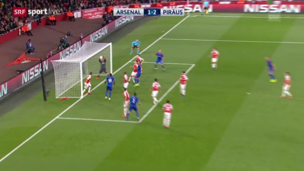 Video «Fussball: Arsenal-Goalie Ospina patzt gegen Olympiakos» abspielen