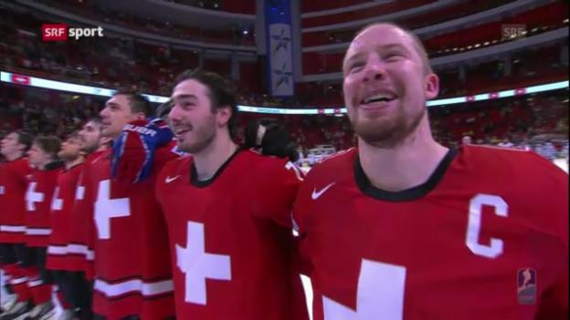 Video «Eishockey: Die Highlights aus dem Halbfinal Schweiz - USA» abspielen