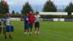 Video «Fussball: Nati-Spieler Behrami und Mehmedi trainieren dosiert» abspielen