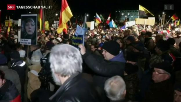 Video «Pegida-Proteststurm mit Gegenwind» abspielen