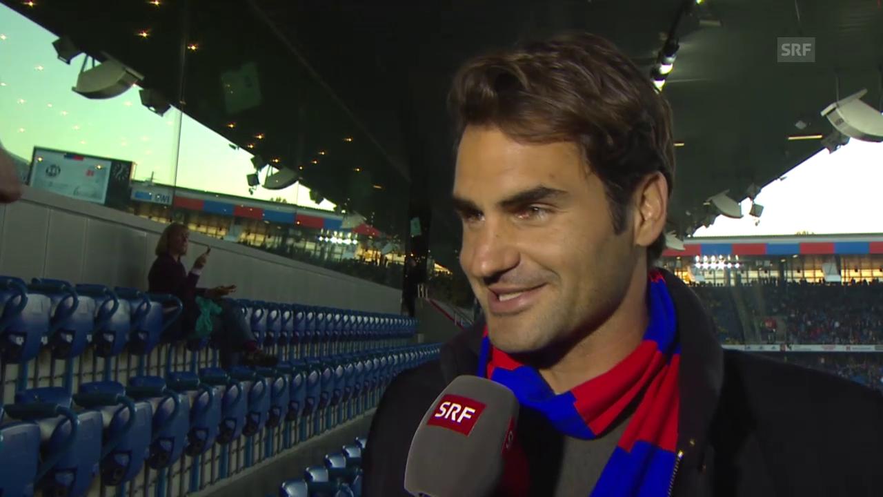 Fussball: Super League, Basel - YB, Roger Federer zu Gast im Stadion