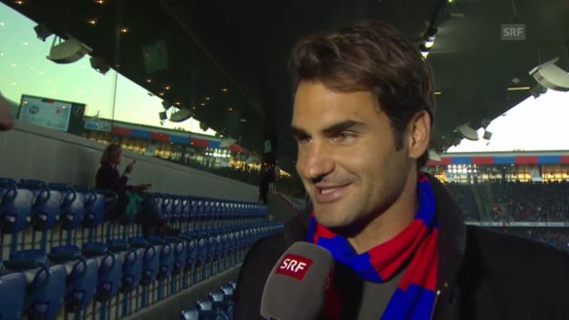 Video «Fussball: Super League, Basel - YB, Roger Federer zu Gast im Stadion» abspielen