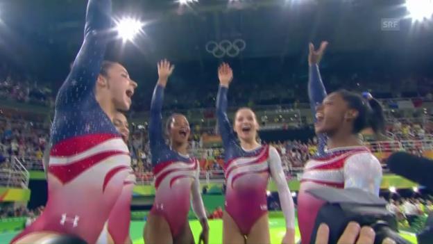 Video «US-Turnerinnen mit Rekordvorsprung zu Team-Gold» abspielen