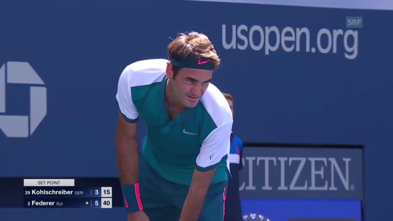 Tennis: US Open, Federer-Kolohschreiber, Satzball 1