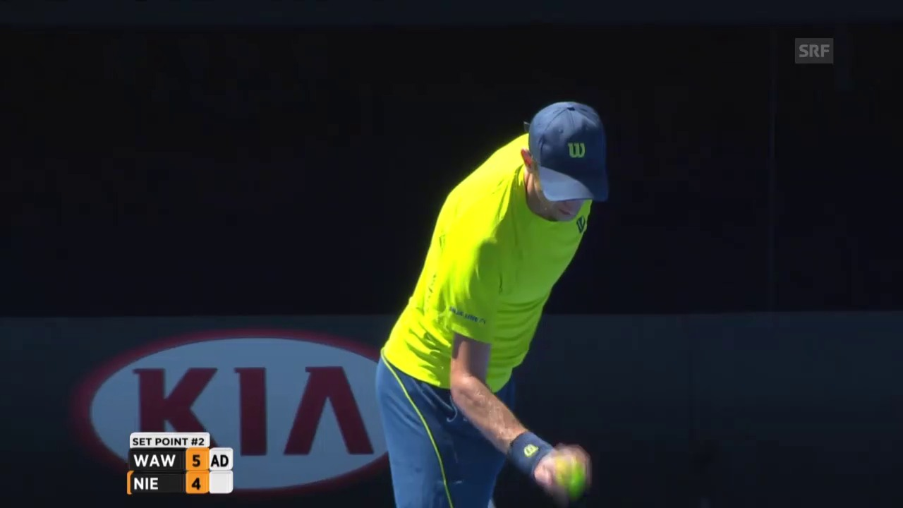 Tennis: Australian Open, Wawrinka -Nieminen, 1. Satzball Wawrinka
