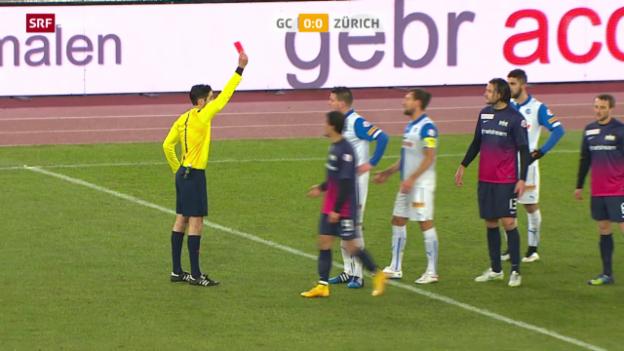 Video «Fussball: Super League, GC - FCZ, der Platzverweis von Michael Dingsdag» abspielen